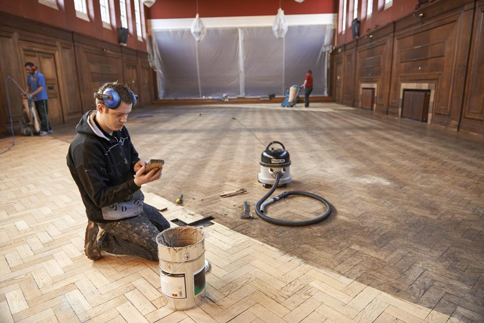 Flooring is being repaired